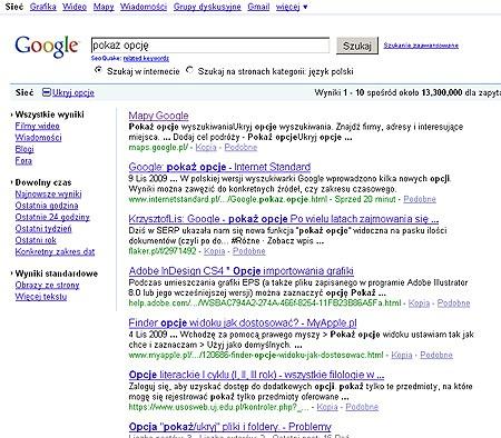 Google pokaż opcje