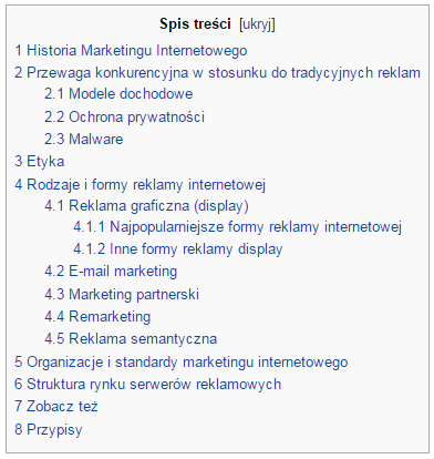 Spis treści Wikipedia