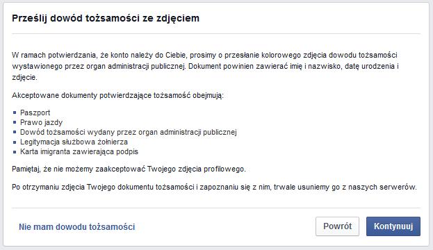 weryfikacja facebook, dowód tożsamości