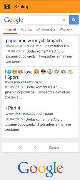 wyniki mobilne wyszukiwania z  kolorowymi ikonami w porównaniu do innch wyników 300