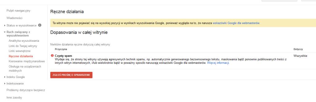 """Działania ręczne Google typu """"czysty spam"""""""