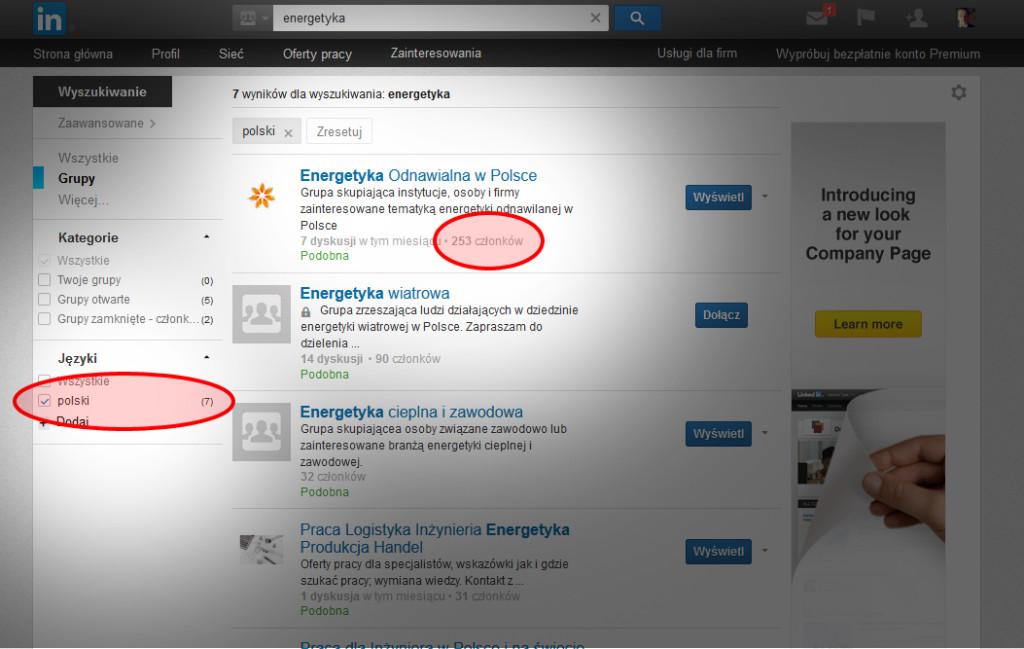 Ważna jest liczba członków w grupie na LinkedIn