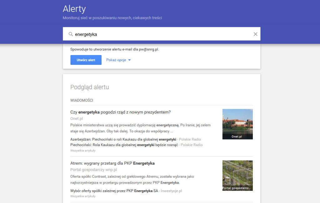 Google Alert do monitorowania mediów