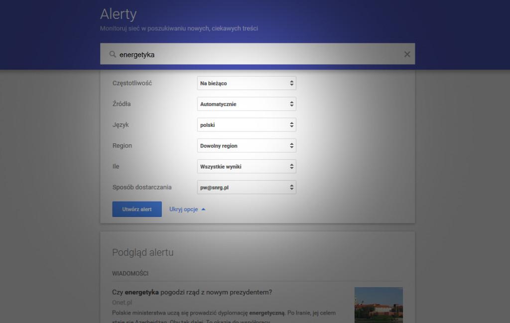 Konfiguracja alertów Google na podstawie słów kluczowych