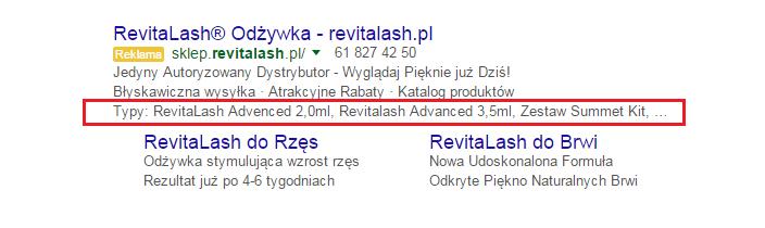 Rozszerzenie informacji o witrynie w reklamie