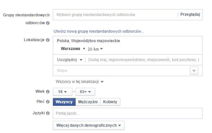 Ustawianie grupy docelowej na Facebooku